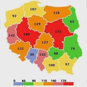 Liczba fotoradarów (masztów) z podziałem na województwa  Źródło: Korkowo.pl /