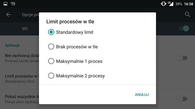 Liczba procesów działających w tle /android.com.pl