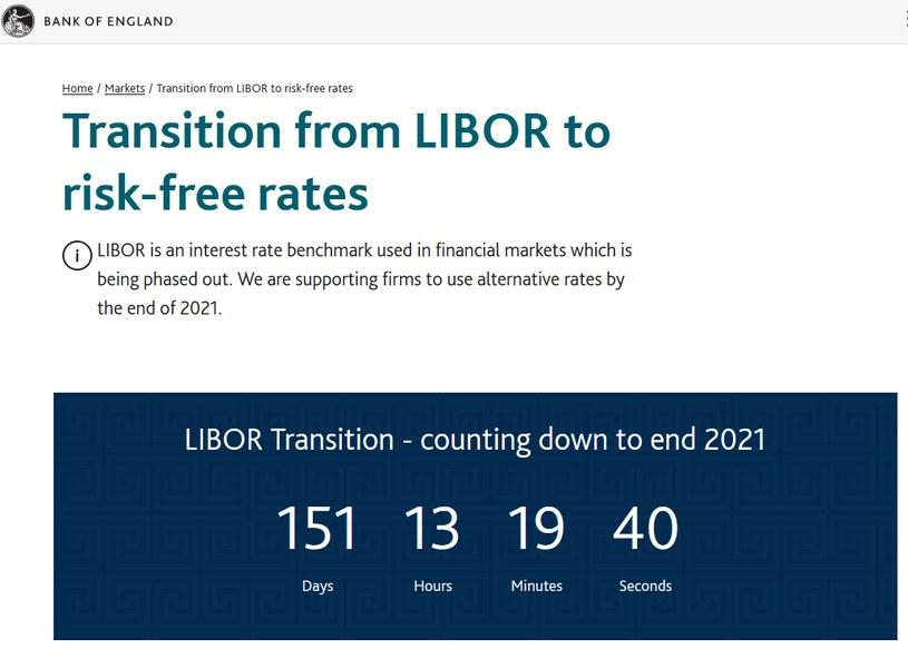 """Licznik na stronie internetowej Banku Anglii, odliczający dni do """"godziny zero"""" dla wskaźników LIBOR (fot. https://www.bankofengland.co.uk/ z dn. 2.08.2021 r.) /"""