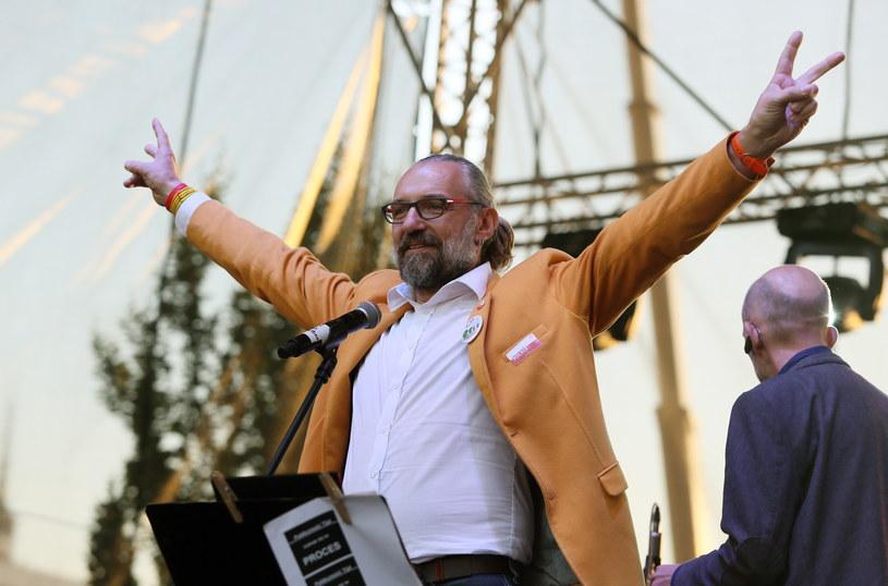 Lider KOD Mateusz Kijowski podczas sobotniej manifestacji /Tomasz Gzell /PAP