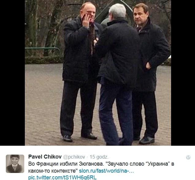 Lider komunistów został uderzony w twarz /Twitter