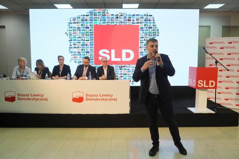 Lider Lewicy Razem Adrian Zandberg podczas konwencji krajowej SLD /Wojciech Olkuśnik /PAP