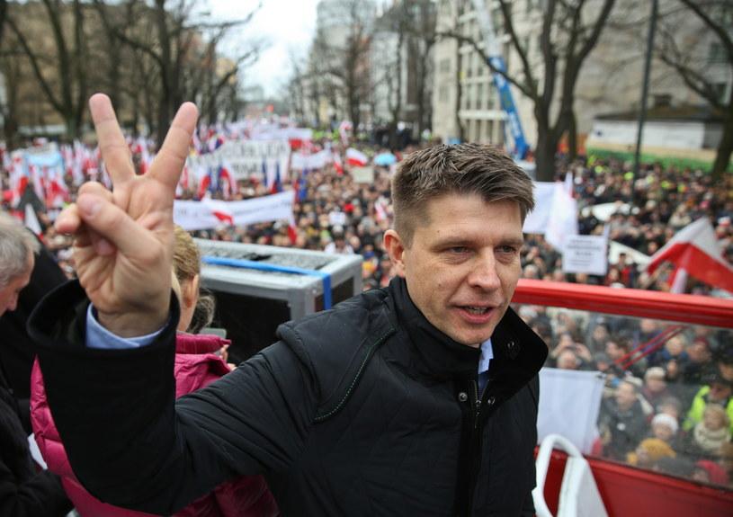 Lider Nowoczesnej Ryszard Petru podczas demonstracji /Rafał Gu /PAP