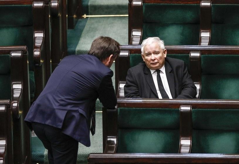 Lider PiS Jarosław Kaczyński i szef Solidarnej Polski Zbigniew Ziobro podczas posiedzenia Sejmu /Dudek Jerzy /Agencja FORUM