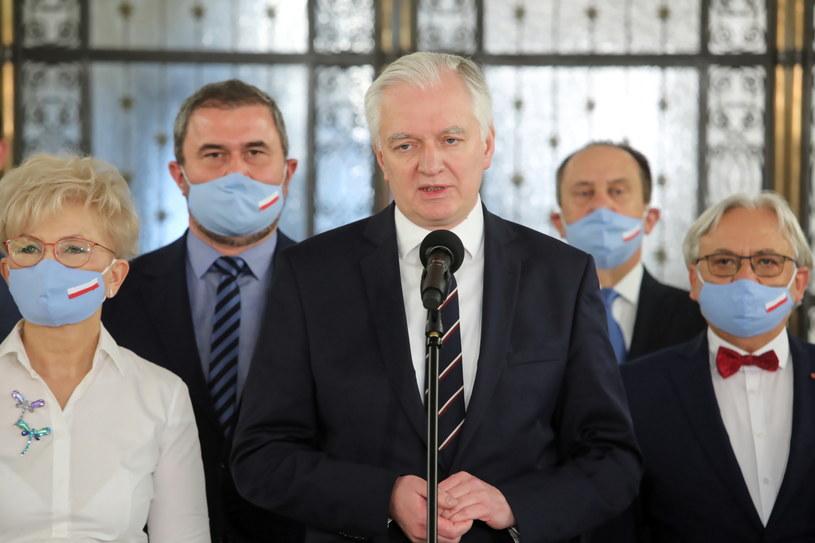 Lider Porozumienia Jarosław Gowin oraz parlamentarzyści ugrupowania /Wojciech Olkuśnik /PAP
