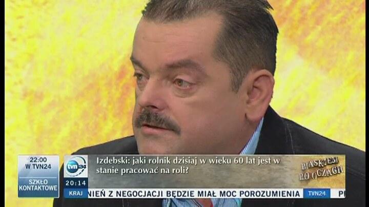 Lider rolniczego OPZZ Sławomir Izdebski. /TVN24/x-news