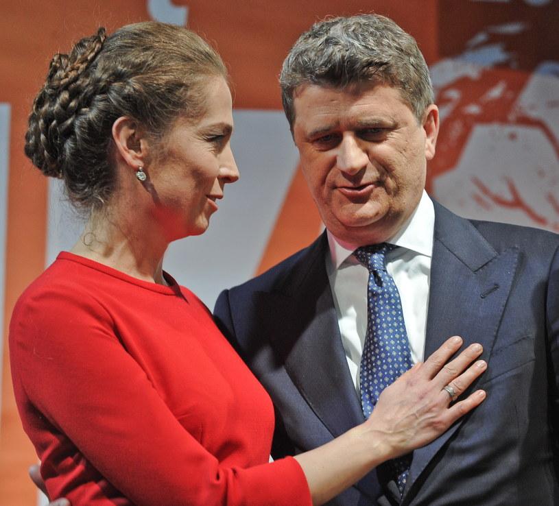 Lider Twojego Ruchu i kandydat na prezydenta - Janusz Palikot z żoną Moniką /PAP
