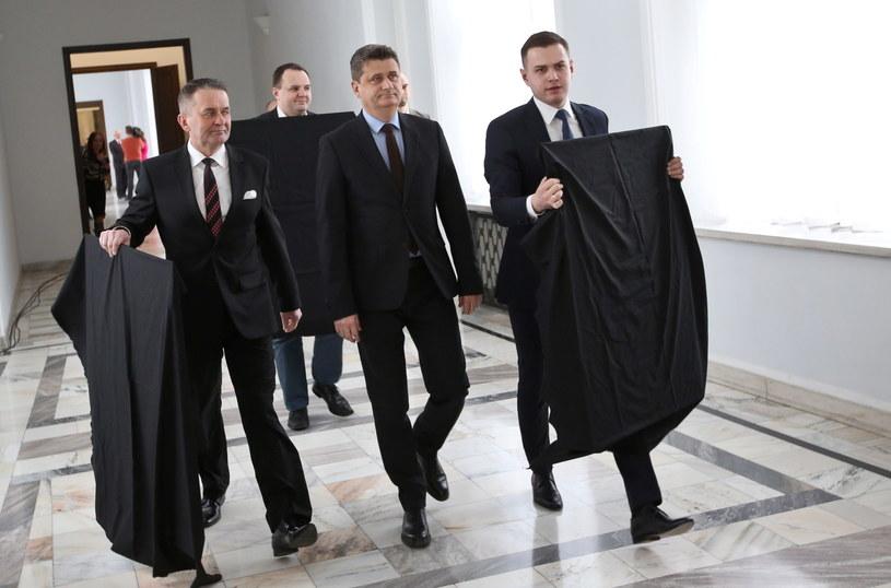 Lider Twojego Ruchu Janusz Palikot (C) /Rafał Guz /PAP