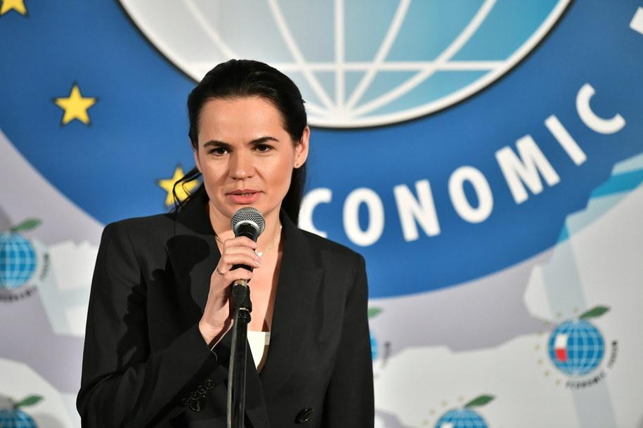 Liderka białoruskiej opozycji Swiatłana Cichanouska podczas ostatniego dnia Forum Ekonomicznego 2020 w Karpaczu / Maciej Kulczyński    /PAP