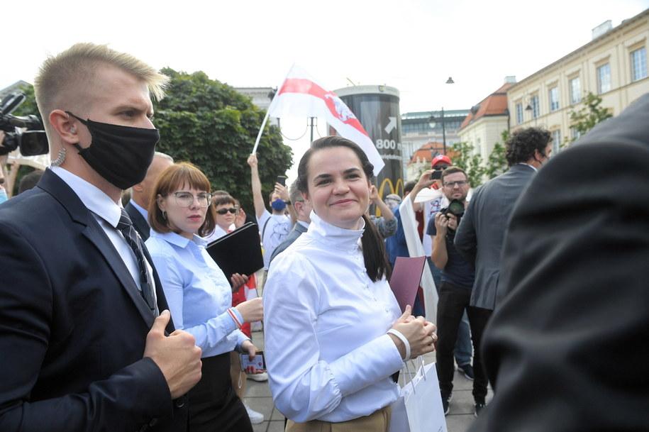 Liderka białoruskiej opozycji Swiatłana Cichanouska w Warszawie / Radek Pietruszka   /PAP