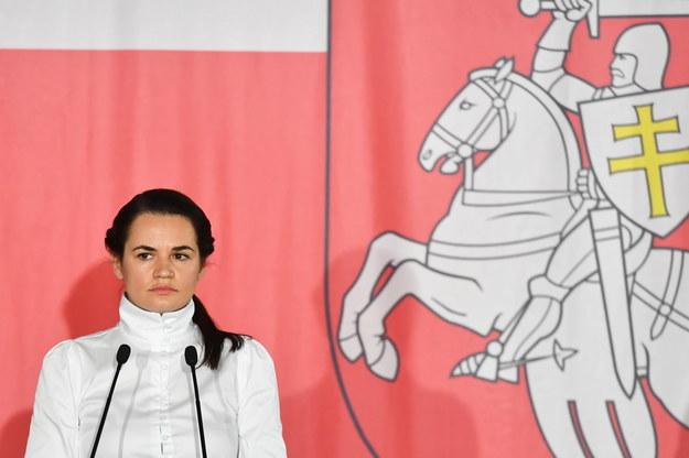 Liderka białoruskiej opozycji Swiatłana Cichanouska /Piotr Nowak /PAP