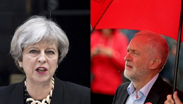 Liderka Partii Konserwatywnej Theresa May (fot. EPA/WILL OLIVER) i lider Partii Pracy Jeremy Corbyn (fot. EPA/Nigel Roddis) /PAP/EPA /PAP/EPA