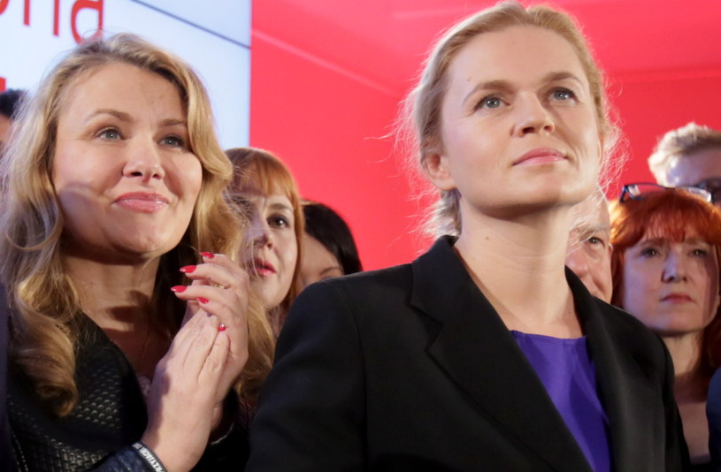 Liderka Zjednoczonej Lewicy Barbara Nowacka (P) i wiceprzewodnicząca SLD Katarzyna Piekarska (L) /Leszek Szymański /PAP