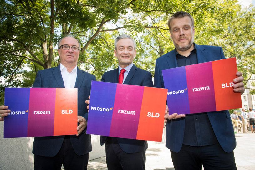 Liderzy Lwicy: Włodzimierz Czarzasty, Robert Biedroń i Adrian Zandberg /Jacek Dominski/ /Reporter