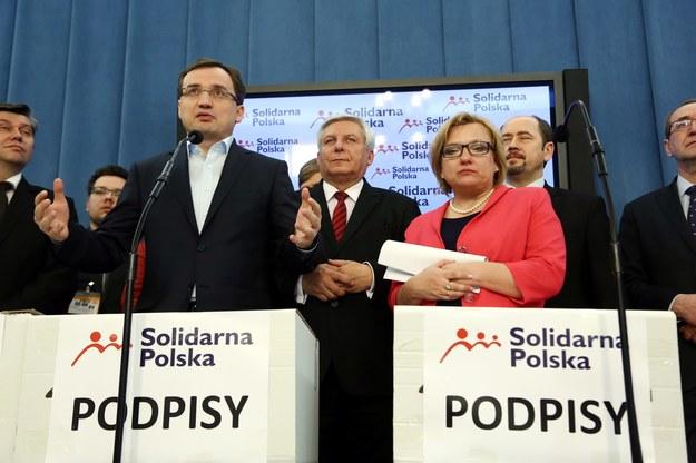 Liderzy Solidarnej Polski na konferencji prasowej /PAP/Tomasz Gzell /PAP