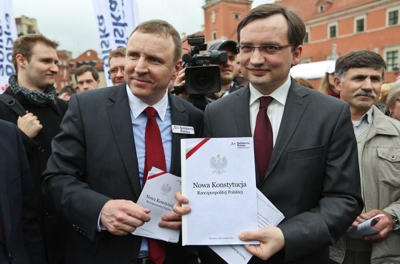 Liderzy Solidarnej Polski Zbigniew Ziobro oraz Jacek Kurski /Rafał Guz /PAP