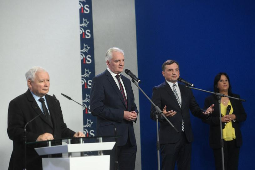 Liderzy Zjednoczonej Prawicy: Jarosław Kaczyński, Jarosław Gowin, Zbigniew Ziobro /Zbyszek Kaczmarek /Reporter