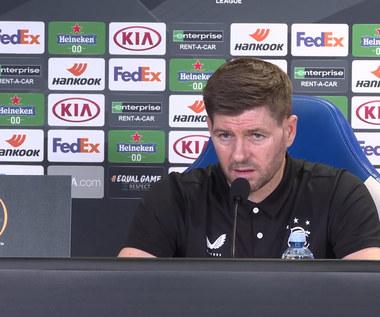 Liga Europy. Steven Gerrard i Bongani Zungu przed meczem z Lechem Poznań. wideo