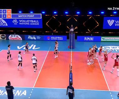 Liga Narodów siatkarek. Polki wygrywają z Koreą Południową 3:0. Piłka meczowa (POLSAT SPORT). Wideo