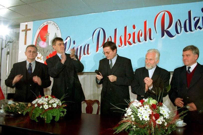 Liga Polskich Rodzin, 2001 r.; n/z Zygmunt Wrzodak, Roman Giertych, Marek Kotlinowski, Gabriel Janowski /Mieczysław Włodarski /Reporter