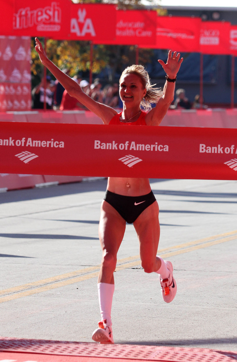 Lilia Szobuchowa wygrywa maraton w Chicago w 2011 roku /AFP