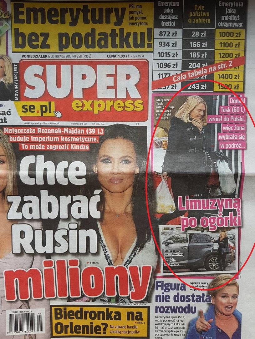"""""""Limuzyną po ogórki"""". O wizycie Małgorzaty Tusk na bazarku pisze """"Super Express"""" /Super Express"""