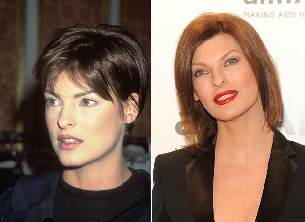 Linda Evangelista w 1995r. i dziś /Getty Images/Flash Press Media