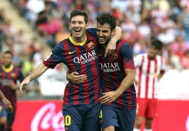 Lionel Messi i Cesc Fabregas /CARLOS BARBA /PAP/EPA