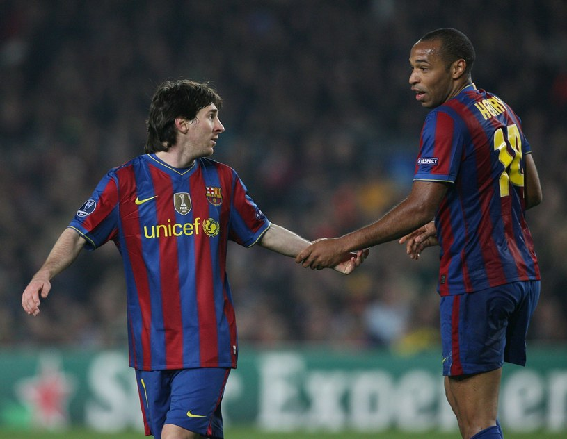 Lionel Messi i jego starszy kolega Thierry Henry /Newspix