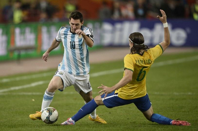 Lionel Messi w meczu z Brazylią /AFP