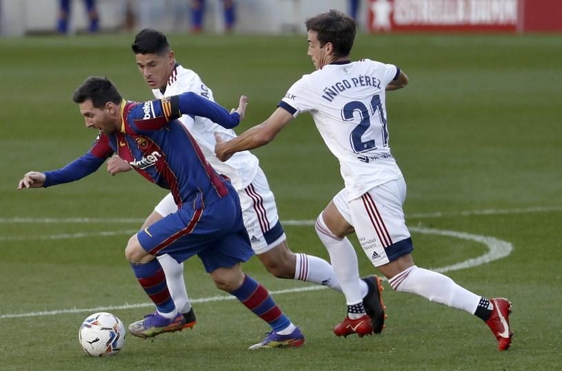 Lionel Messi w meczu z Osasuną /PAP/EPA