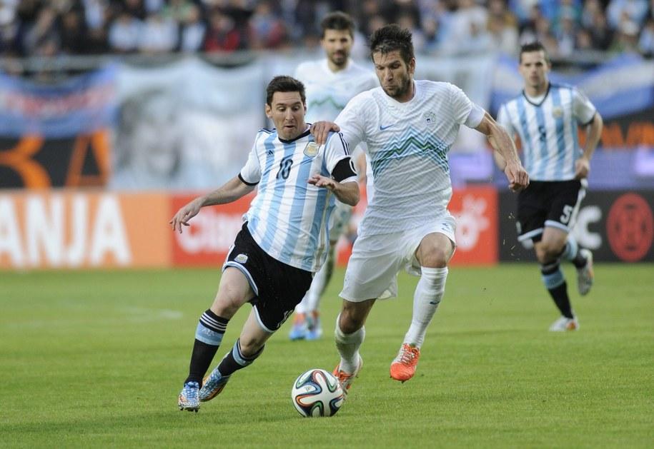 Lionel Messi w towarzyskim meczu Argentyna - Słowenia /Demián Estevez /PAP/EPA