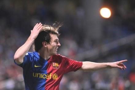 Lionel Messi zdobył pierwszą bramkę w meczu Recreativo - Barcelona /AFP