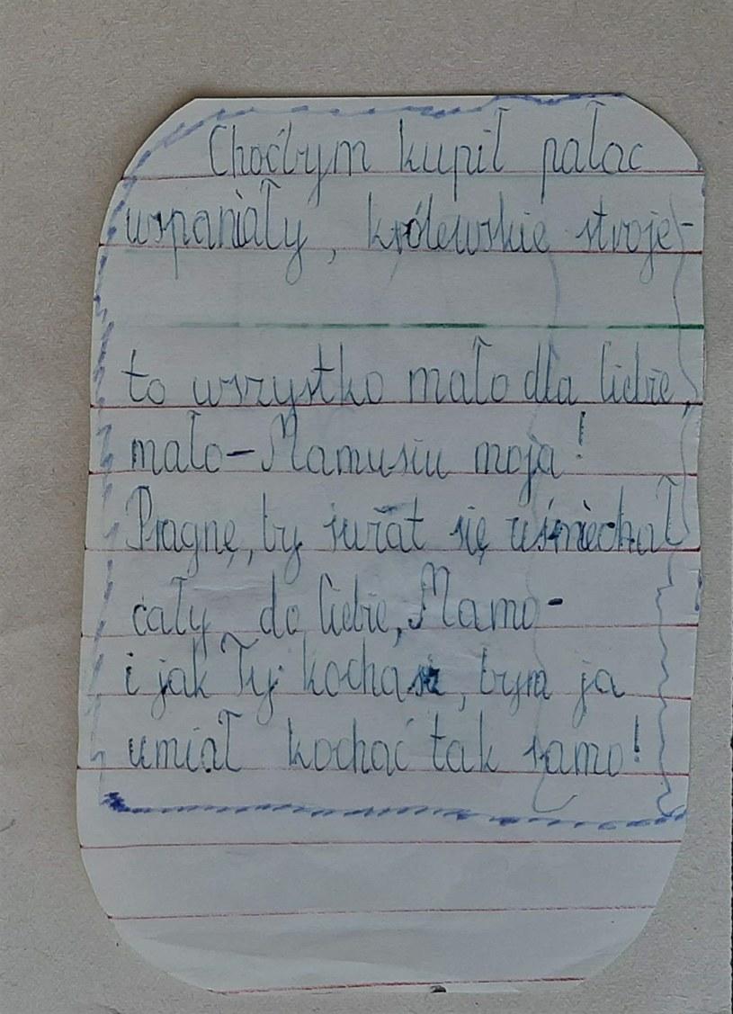Liścik dla mamy pisany przez małego Mariusza /pomponik exclusive