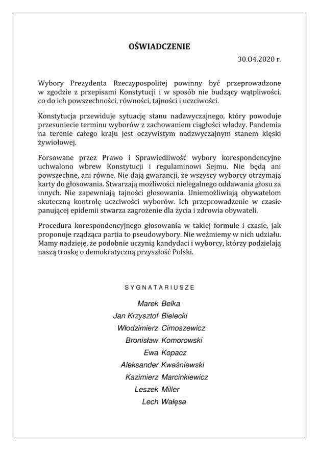 List byłych prezydentów i premierów dot. wyborów /FOR /