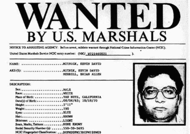 List gończy wysłany za Mitnickiem - szybko stał się hakerem numer jeden /materiały prasowe