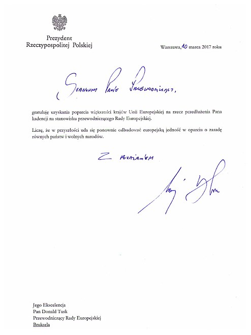 List gratulacyjny prezydenta Andrzeja Dudy do Donalda Tuska /prezydent.pl /