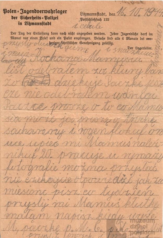 List Jana Spychały /Muzeum Dzieci Polskich /