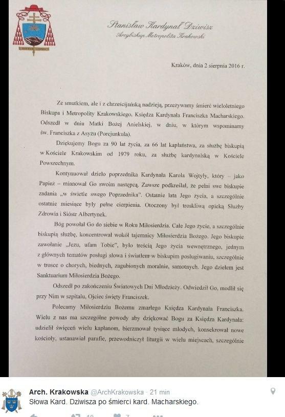 List księdza Stanisława Dziwisza /