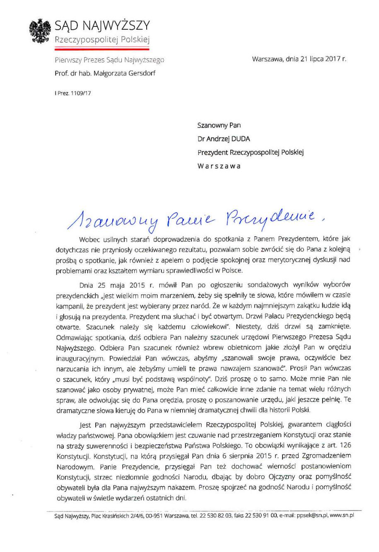List Małgorzaty Gersdorf do prezydenta Andrzeja Dudy /Zrzut ekranu