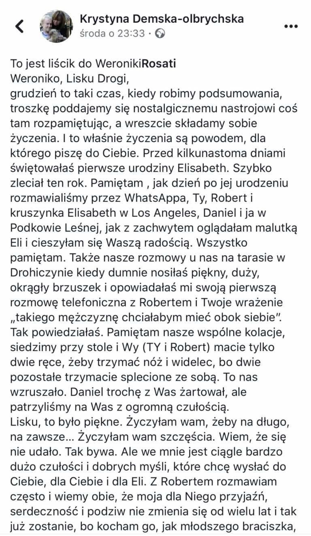 List otwarty Krystyny Demskiej-Olbrychskiej do Weroniki Rosati (screeen z Facebooka) /materiały prasowe