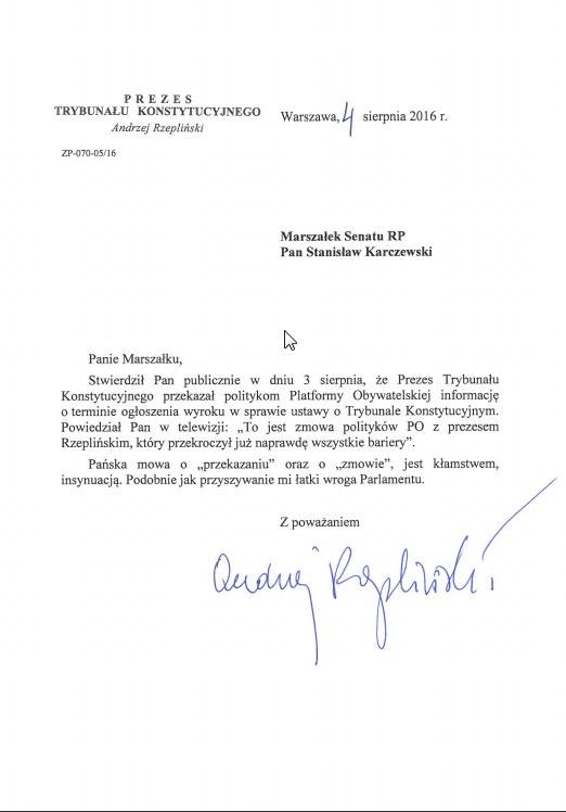 List prezesa TK do marszałka Senatu /http://trybunal.gov.pl/ /
