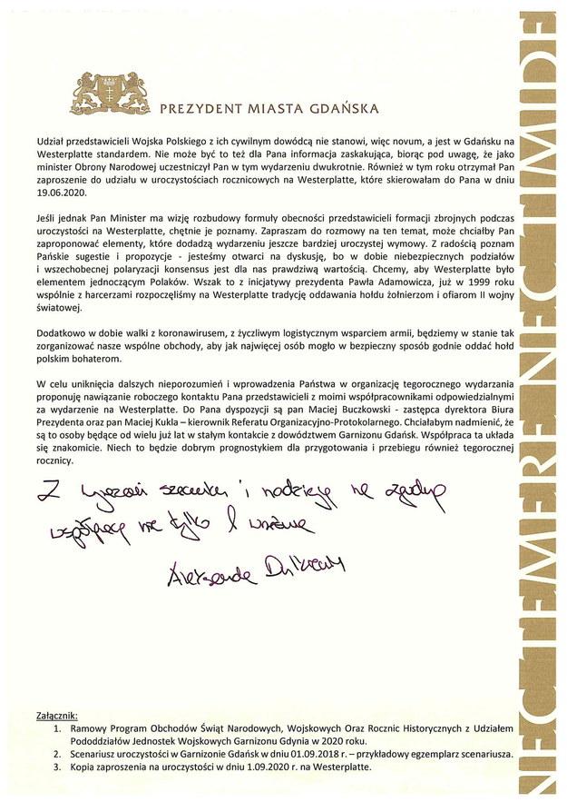 List prezydent Gdańska Aleksandry Dulkiewicz do szefa MON Mariusza Błaszczaka /materiały prasowe /