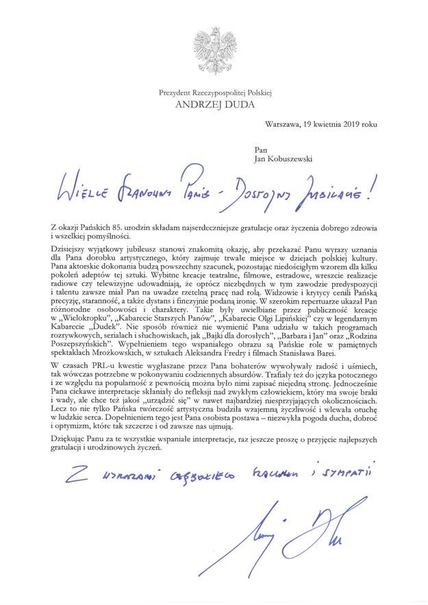 List prezydenta Andrzeja Dudy z okazji urodzin Jana Kobuszewskiego /Kancelaria Prezydenta /
