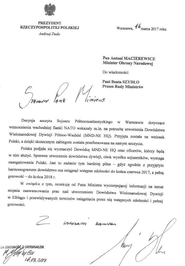 List prezydenta do szefa MON /