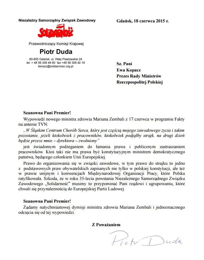 """List szefa """"Solidarności"""" do premier Kopacz /http://www.solidarnosc.org.pl/ /INTERIA.PL"""