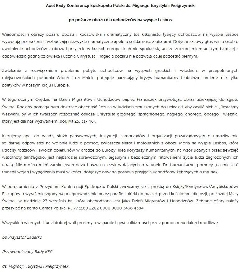 List w sprawie uchodźców na Lesbos /materiały prasowe
