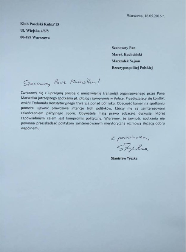List wicemarszałka S. Tyszki do marszałka M. Kuchcińskiego opublikował na swoim Facebooku Paweł Kukiz /facebook.com