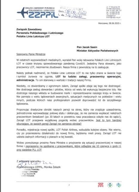 List związkowców do Jacka Sasina /RMF FM /RMF FM