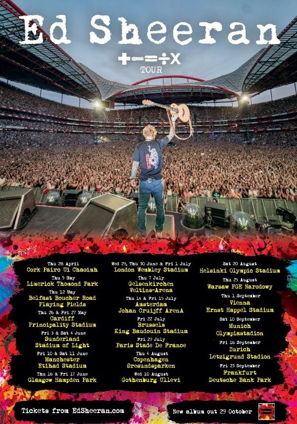 """Lista koncertów w ramach """"+ - = ÷ x Tour"""" /Materiał prasowy /"""